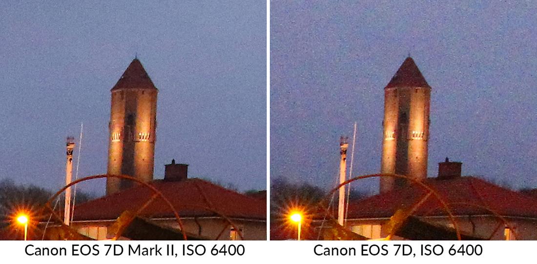 Canon EOS 7D Mark II vs 7D brus utsnitt ISO 6400