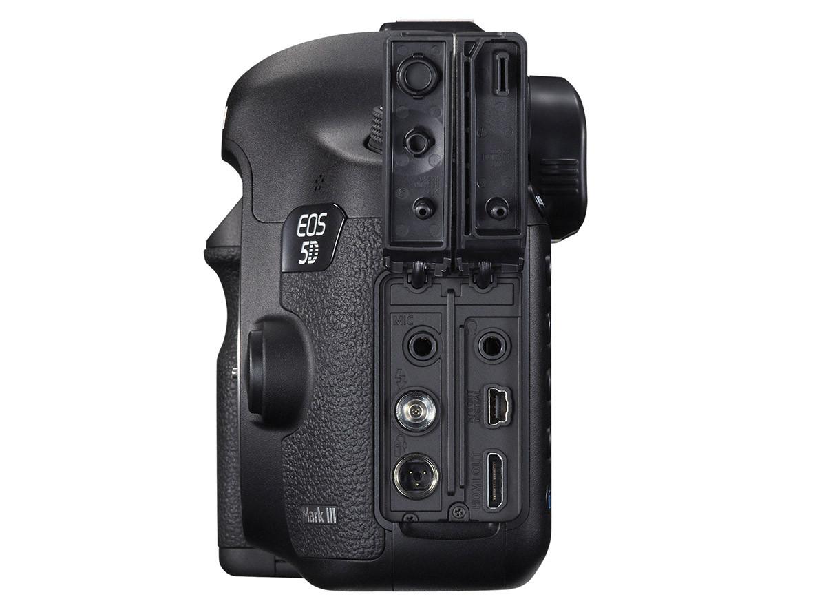Test Canon EOS 5D Mark III ingång för stereomikrofon uttag HDMI okomprimerad video studioblixt fjärrutlösare