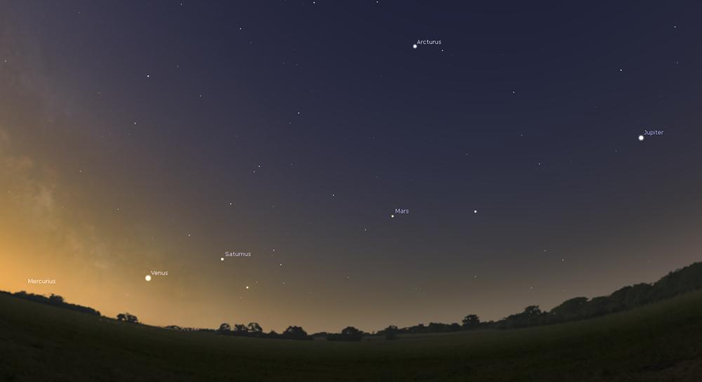 fotografera astronomi fem planeter synliga 2016 Merkurius Venus Saturnus Mars och Jupiter