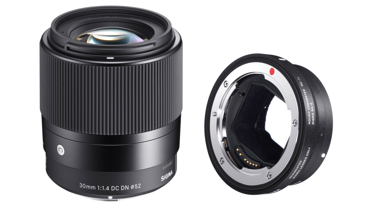 Sigma 30 mm f/1,4 DC DN C & Sigma Mount Converter MC 11 för Sony E APS-C