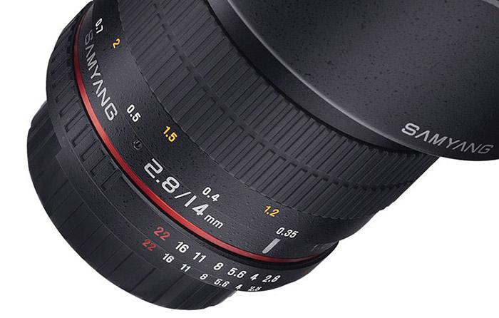 Review Samyang MF 14mm f/2.8 fokusring med grov avståndsskala test av Objektivtest.se