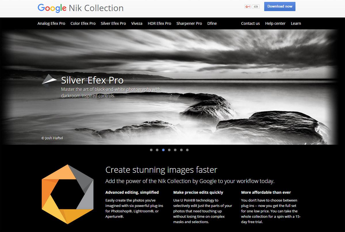 Google Nik Collection innehåller bland annat Nik Color Efex Pro 4 och Nik Silver Efex Pro 2