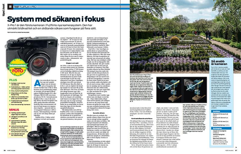 Fujifilm X-Pro1 test tidningen FOTO nr 7-8/2012