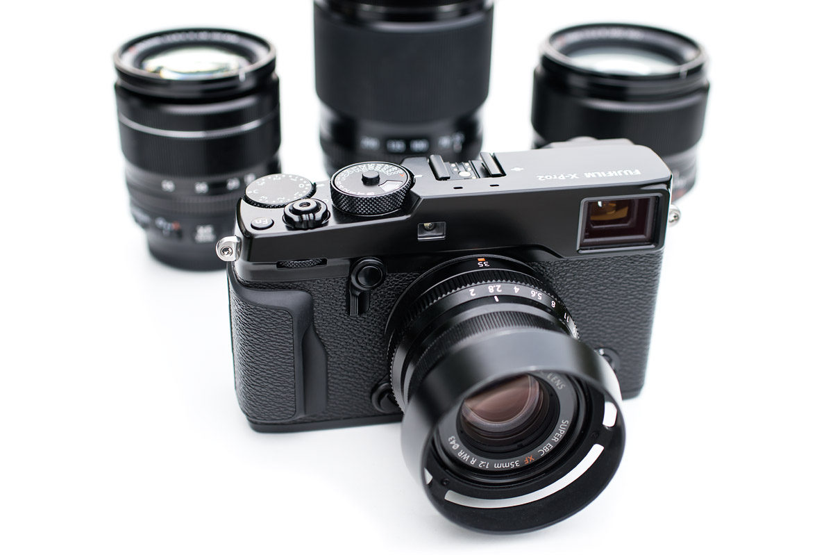 Fujifilm X-Pro2 med tre Fujinon objektiv foto Christian Nilsson Objektivtest.se