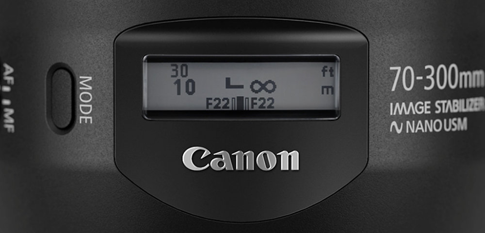 Canon EF 70-300mm f4-5.6 is ii usm lcd-information