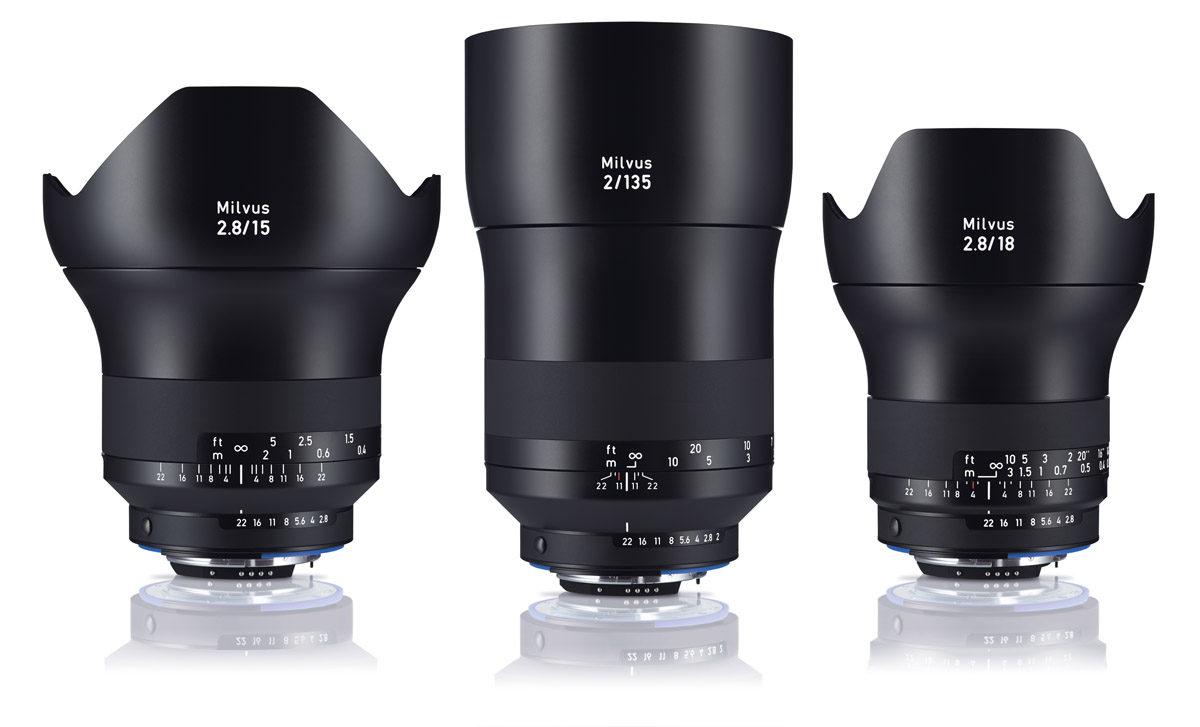 Zeiss Milvus fullformatsobjektiv för Canon och Nikon Milvus 15 mm f/2,8 och Milvus 18 mm f/2,8 samt Milvus 135 mm f/2