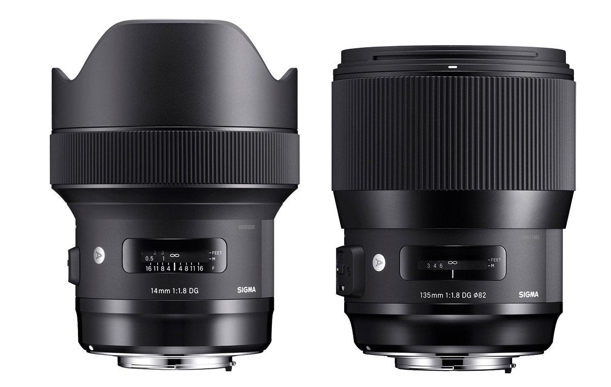 Sigma 14 mm f/1,8 DG HSM Art vidvinkelobjektiv & Sigma 135 mm f/1,8 DG HSM Art teleobjektiv