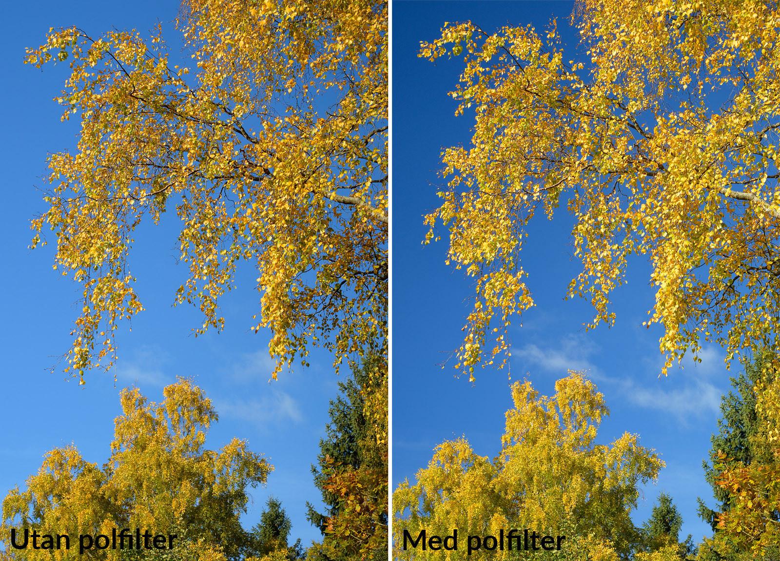 Jämförelse med och utan polarisationsfilter. Foto Christian Nilsson Objektivtest.se se vår webbutik på www.objektivtest.se