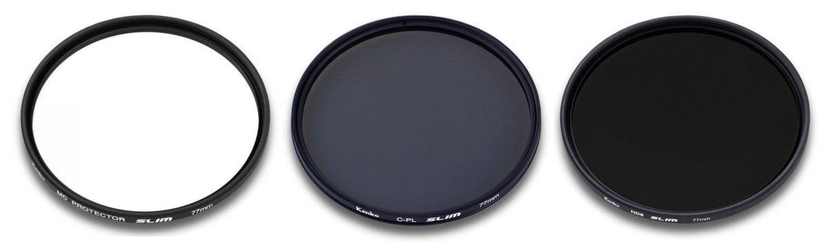 Kenko filterpaket skyddsfilter, polarisationsfilter och ND8 gråfilter