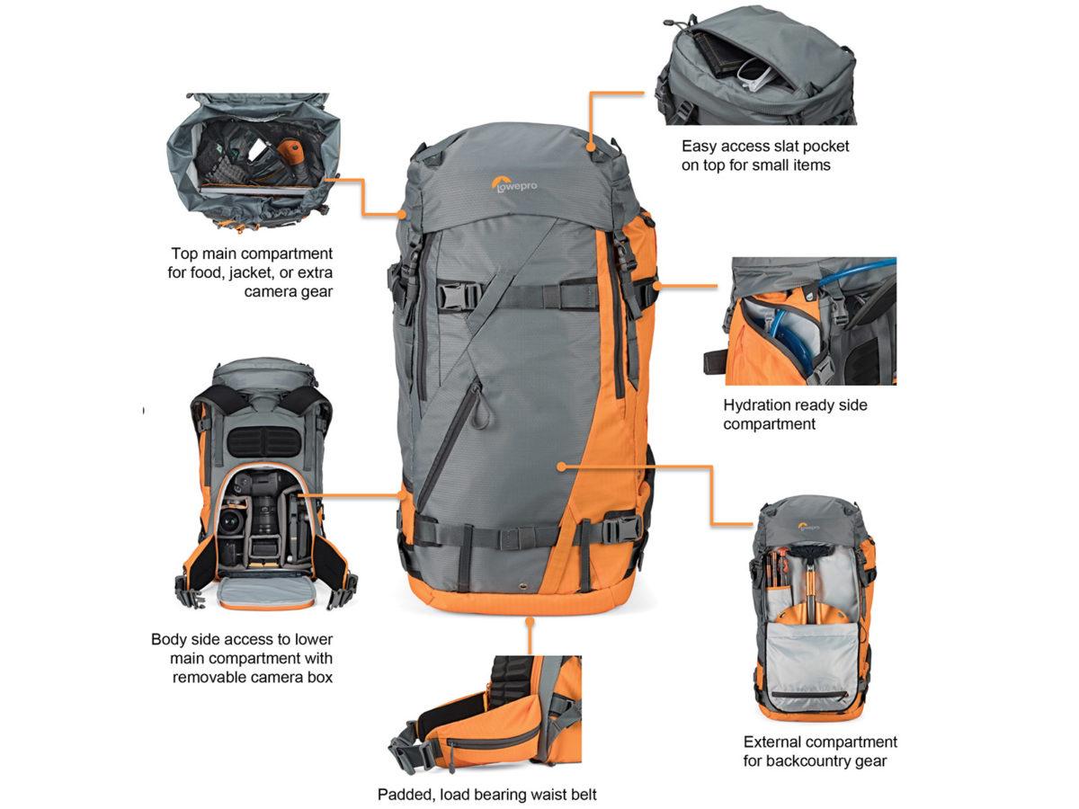 Lowepro Powder BP 500 AW kameraryggsäck för skidfotografering och friluftsliv