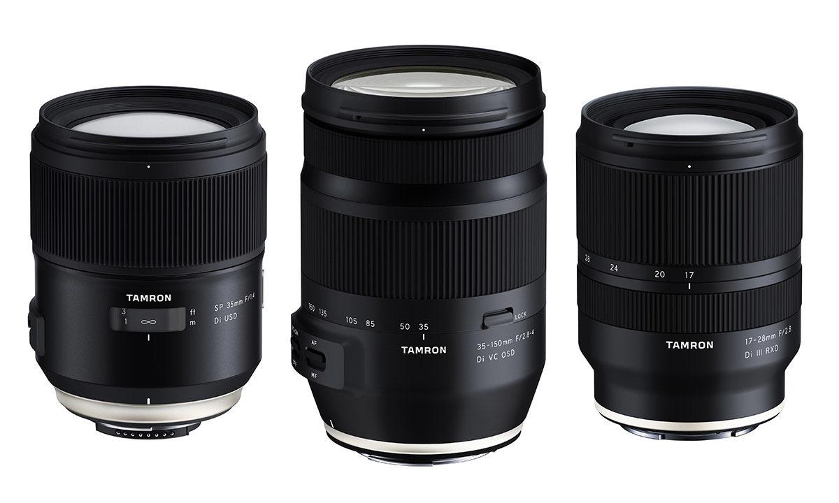 Tre nya fullformatsobjektiv för Canon, Nikon och Sony Tamron SP 35 mmf/1,4 Di USD, Tamron 35-150 mmf/2,8-4 Di VC OSD, Tamron 17-28 mmf/2,8 Di III RXD