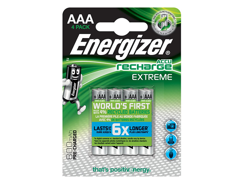 Energizer Recharge Extreme AAA-batterier 4-pack