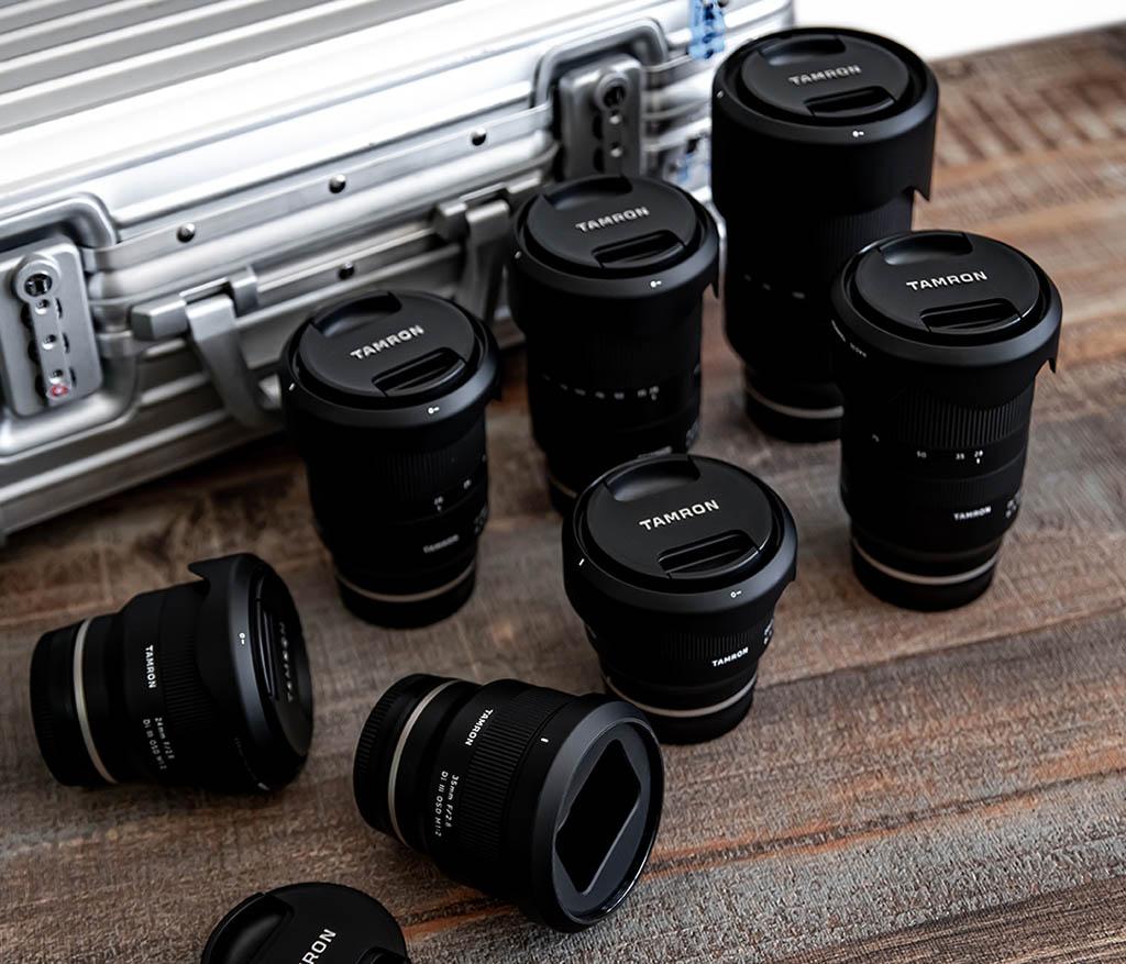 Tamron zoomobjektiv och fasta brännvidder för Sony fullformatskameror med E-fattning / FE fattning
